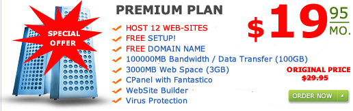 """Premium Plan"" Host 12 web-sites 3000MB web space 100GB Bandwidth only for $29.95 a month"